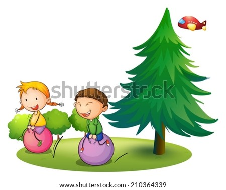 Illustration of the kids playing with the bouncing balloons near the pine tree on a white background - stock vector