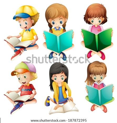 Illustration of the kids reading on a white background - stock vector