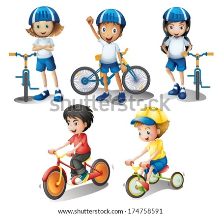 Illustration of the kids with their bikes on a white background - stock vector