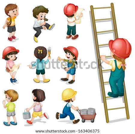 Illustration of the kids working on a white background - stock vector
