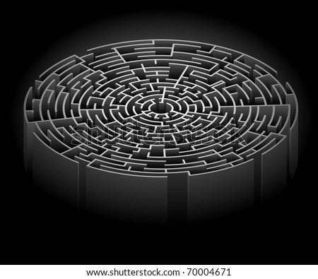 Illustration of the labyrinth on a black background. Vector. - stock vector