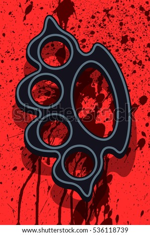 Illustration of the lead knuckleduster on abstract bloody splashes background
