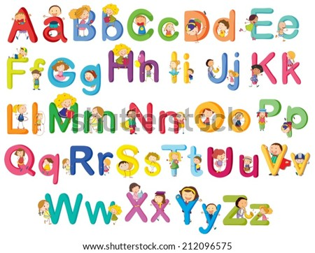 Illustration of the letters of the alphabet on a white background - stock vector