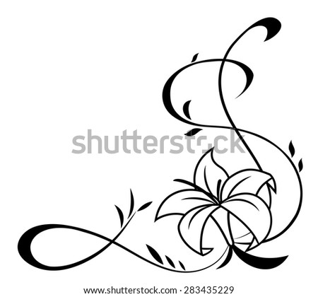 Illustration of the lily flowers black silhouette on white background - stock vector