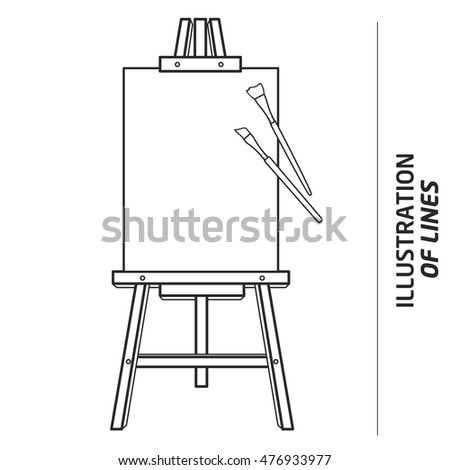 illustration lines easel artist stock vector royalty free