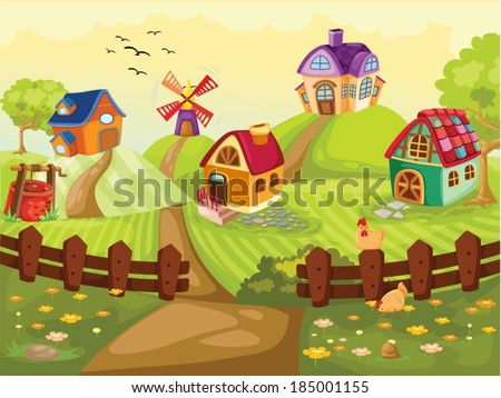 illustration of the lovely farm village  - stock vector