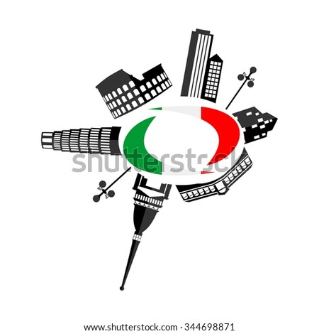 illustration of the main attractions of Italy and the flag . - stock vector