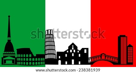 illustration of the main attractions of Italy on the background of the flag. - stock vector