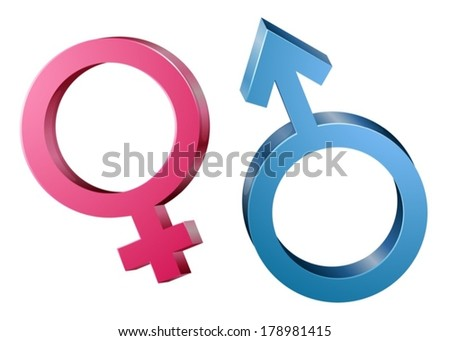 Illustration of the male and female sex symbols on a white background