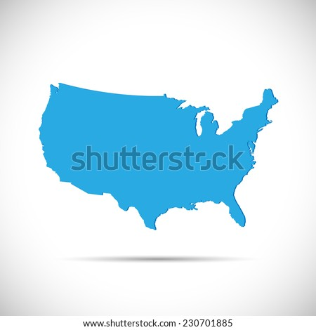 Illustration of the map of the United States of America isolated on a white background. - stock vector