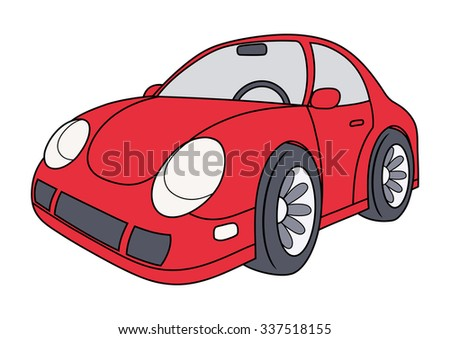 Illustration of the modern red car on white background