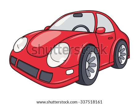 Illustration of the modern red car on white background - stock vector
