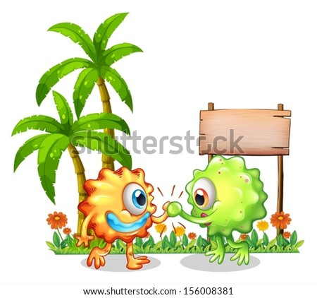 Illustration of the monsters near the wooden signboard on a white background - stock vector