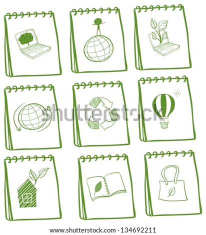 Illustration of the notebooks with eco-friendly logos on a white background - stock vector