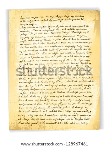 Illustration of the Old (18 Century) Vintage Letter Over White Background