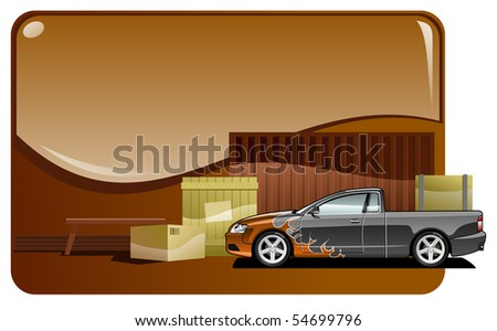 illustration of the pickup truck and cargo. Simple gradients only - no gradient mesh. - stock vector