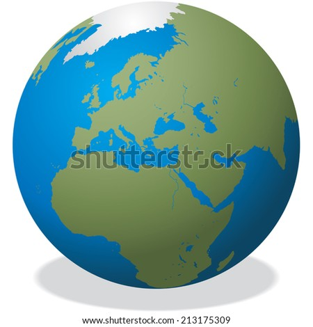 Illustration of the planet earth with shadow vector - stock vector