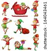 Illustration of the playful Santa elves on a white background - stock vector