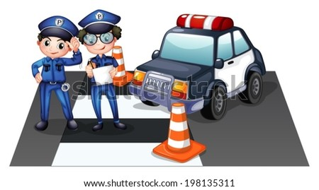 Illustration of the police officers at the road on a white background - stock vector