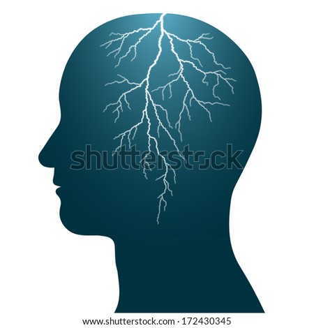 Illustration of the profile of a human head with a lightning flash inside, isolated headache seizure epilepsy - stock vector