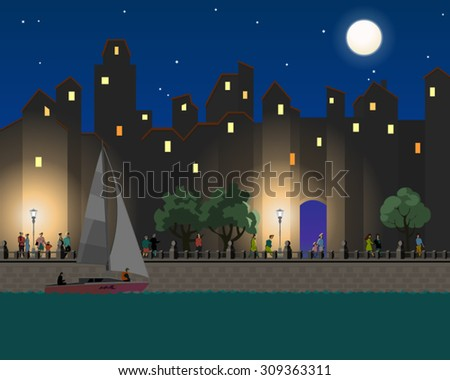 Illustration of the quay in a city at evening with trees, walking people, a river and a sailing boat and buildings and moon in the background. Empty space leaves room for design elements or text.