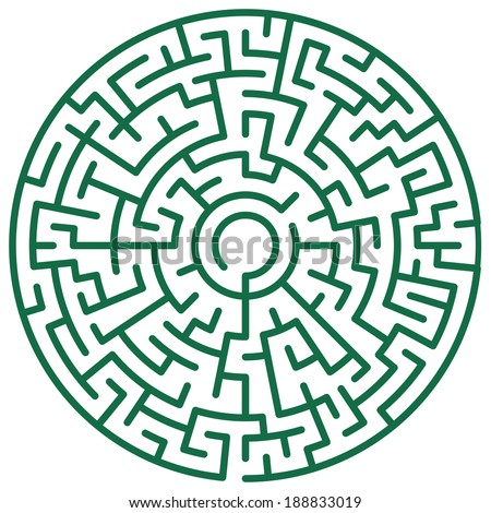 Illustration of the round maze - stock vector