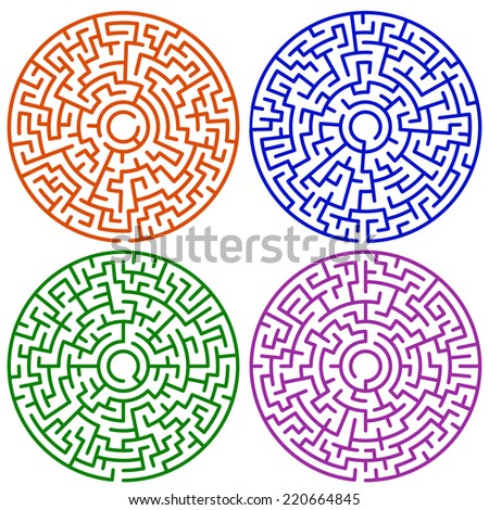 Illustration of the round maze set - stock vector