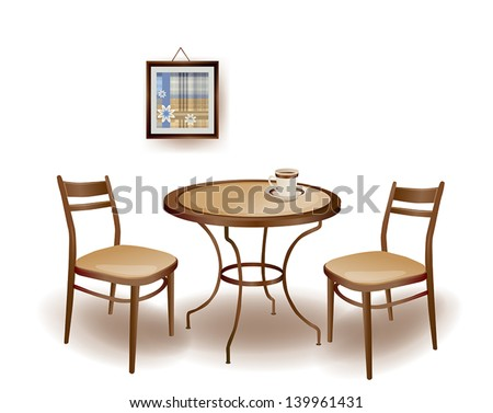 illustration  of the round  table and chairs - stock vector