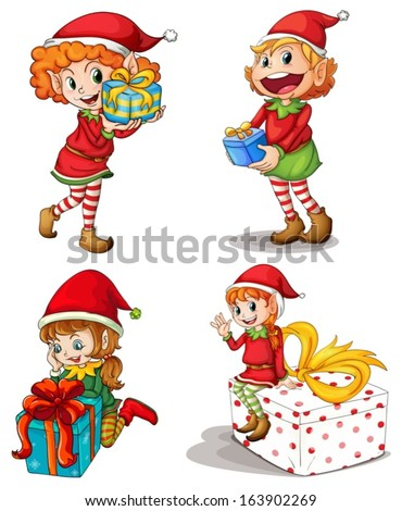 Illustration of the Santa elves with gifts on a white background