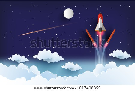illustration of the shuttle. flying into beautiful space at full speed. paper art design