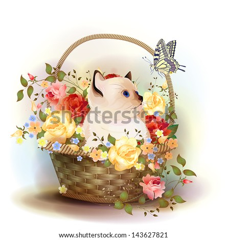 Illustration of  the siamese kitten sitting in a basket with roses. - stock vector