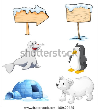Illustration of the signboards, animals and an igloo at the north pole on a white background - stock vector