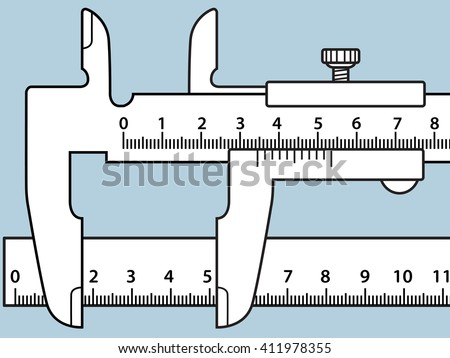 Illustration of the sliding calliper and rule icon - stock vector