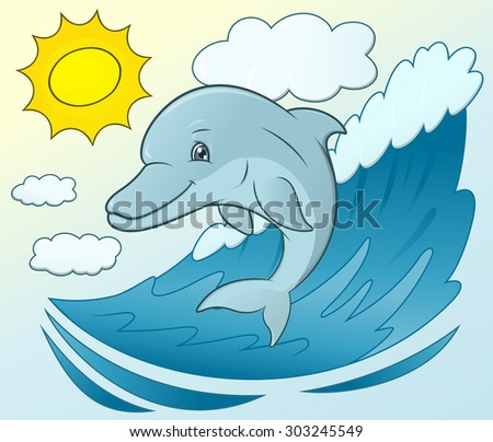 Illustration of the smiling friendly cute dolphin jumping out from the sea wave - stock vector