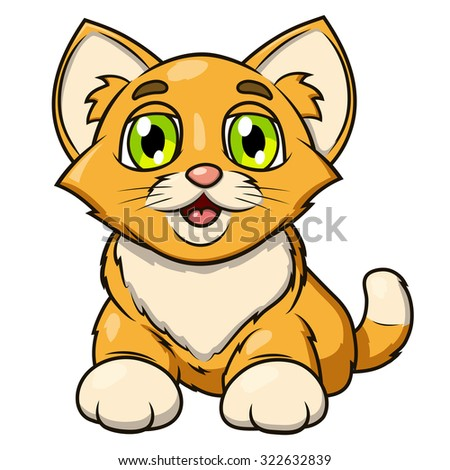 Illustration of the smiling happy cute little kitten - stock vector
