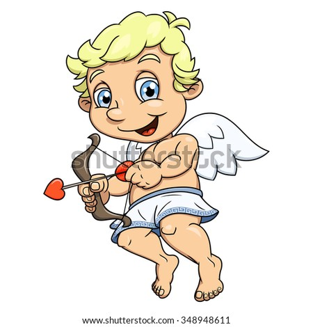 Illustration of the smiling little cupid flying