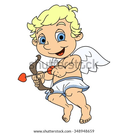 Illustration of the smiling little cupid flying - stock vector