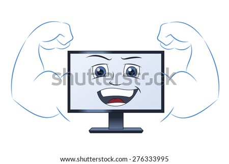 Illustration of the smiling powerful strong computer - stock vector