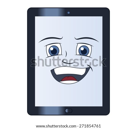 Illustration of the smiling tablet computer  - stock vector