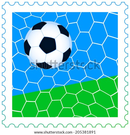 Illustration of the soccer ball in the net on the postage stamp