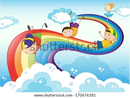 Illustration of the stickmen playing with the rainbow - stock vector