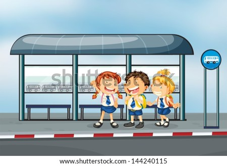 Illustration of the students at the bus stop - stock vector