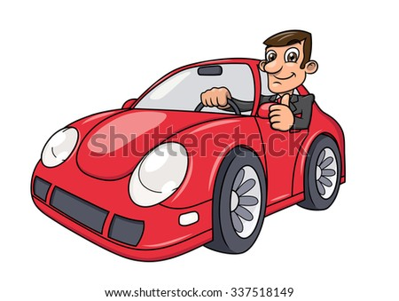 Illustration of the successful businessman driving a modern red car and showing thumb up - stock vector