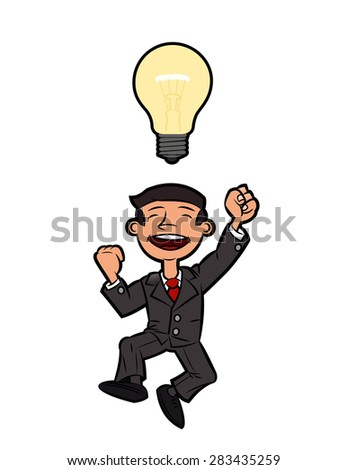 Illustration of the successful happy businessman jumping up for joy because of the great idea - stock vector