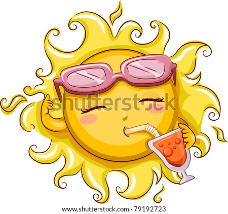 Illustration of the Sun Drinking from a Glass - stock vector