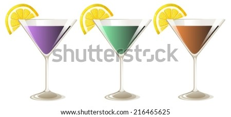 Illustration of the three glasses of cocktail drinks on a white background - stock vector