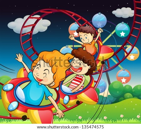 Illustration of the three kids riding in a roller coaster - stock vector