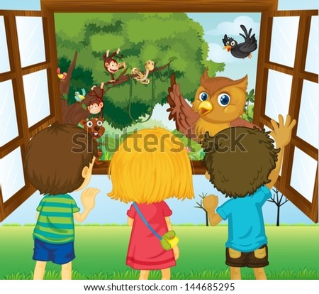 Illustration of the three kids watching the different animals in the forest - stock vector