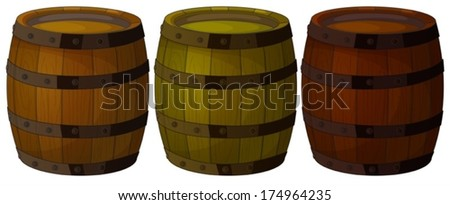 Illustration of the three wooden barrels on a white background - stock vector