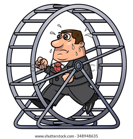Illustration of the tired businessman running in a hamster wheel - stock vector